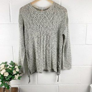 Knox Rose Gray Knit Crew Neck Sweater Size Small